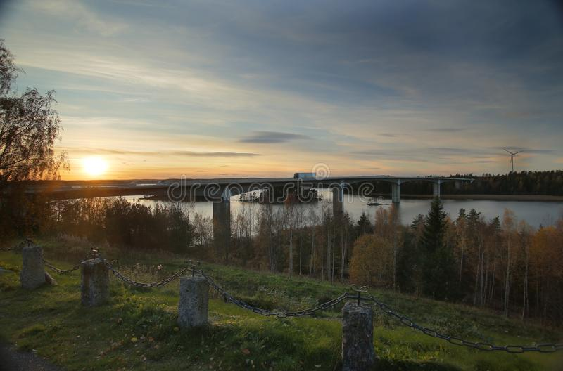 Bridge near Askersund over northern part of the lake Vaettern in Sweden.  royalty free stock images