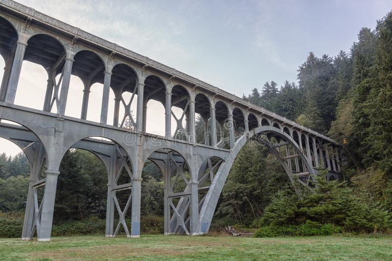 Bridge near Heceta Head Lighthouse, Oregon coast stock photos