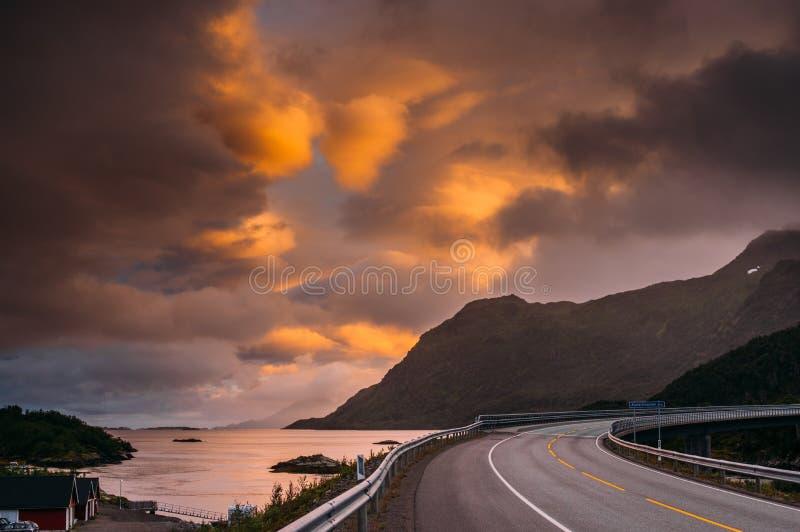 Bridge near  Straumneset, Lofoten Islands, Norway. Bridge near Straumneset, Lofoten Islands, Norway royalty free stock images