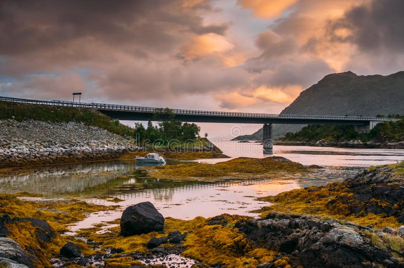 Bridge near  Straumneset, Lofoten Islands, Norway. Bridge near Straumneset, Lofoten Islands, Norway stock image