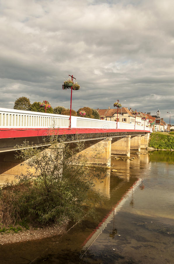 Bridge nears the river. In France on a sunny day. It´s a vertical picture stock photos