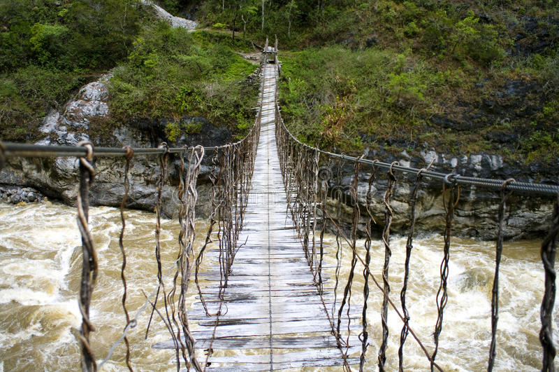 The bridge in New Guinea stock photography