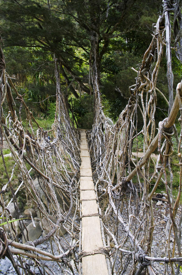 The bridge in New Guinea stock photos