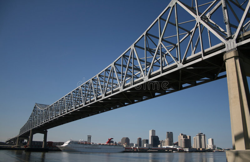 Bridge with New Orleans skyline royalty free stock photo