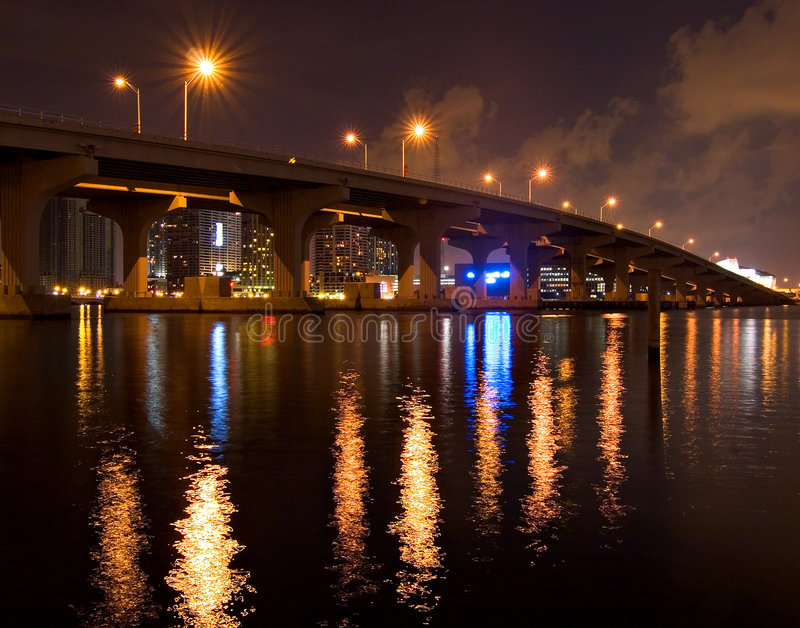 Bridge at night royalty free stock images