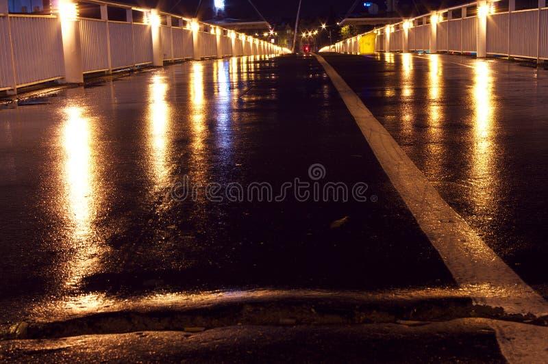 Download The Bridge At Night Closeup Wet Asphalt Light Stock Image - Image of closeup, lithuania: 22322021