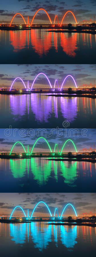Bridge night scene stock image