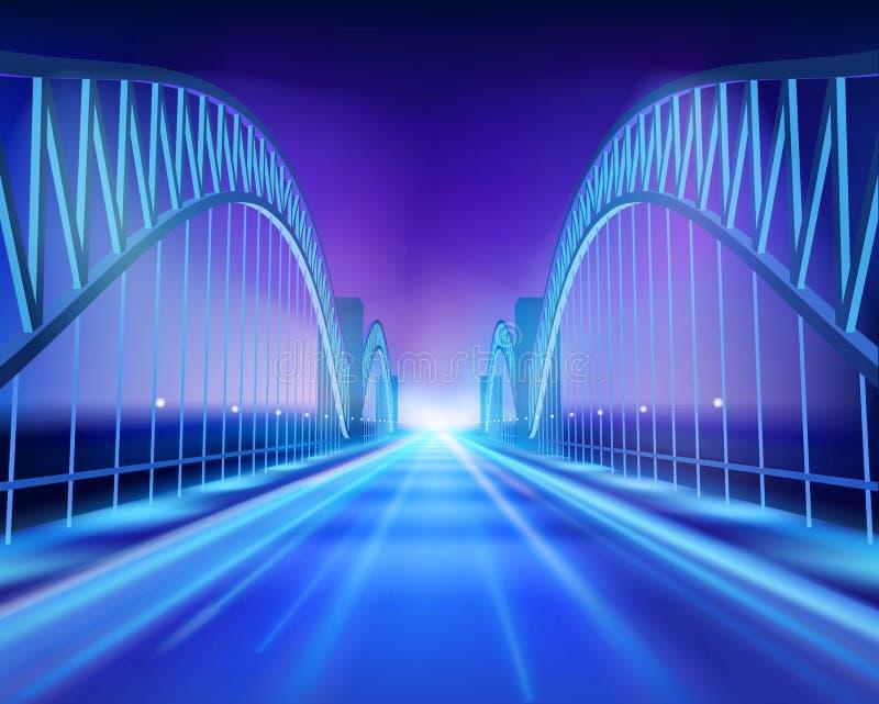 Bridge in the night. Vector Illustration. royalty free illustration