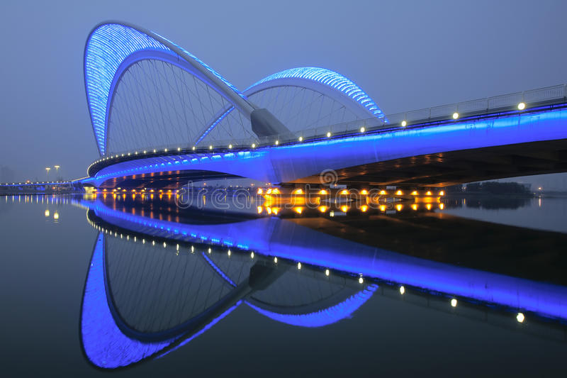Bridge nocturne. The nocturne of Nanzhonghuan Bridge in Taiyuan, Shanxi, China stock photo