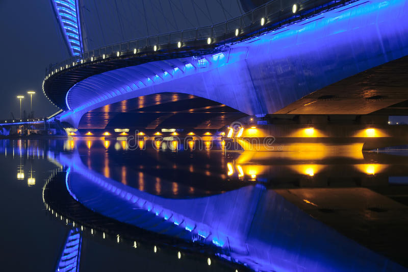 Bridge nocturne. The nocturne of Nanzhonghuan Bridge in Taiyuan, Shanxi, China stock images