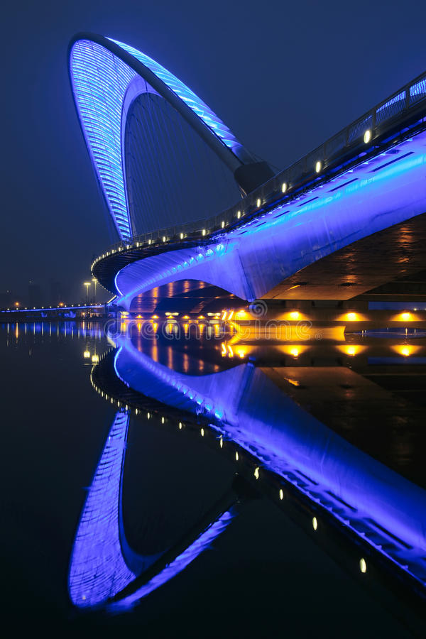 Bridge nocturne. The nocturne of Nanzhonghuan Bridge in Taiyuan, Shanxi, China royalty free stock photo