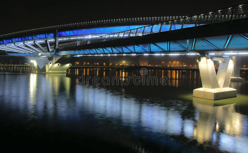 Bridge nocturne. The nocturne of Jifen Bridge in Taiyuan, Shanxi, China royalty free stock image