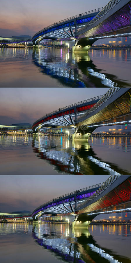 Bridge nocturne. The nocturne of Jifen Bridge in Taiyuan, Shanxi, China royalty free stock images