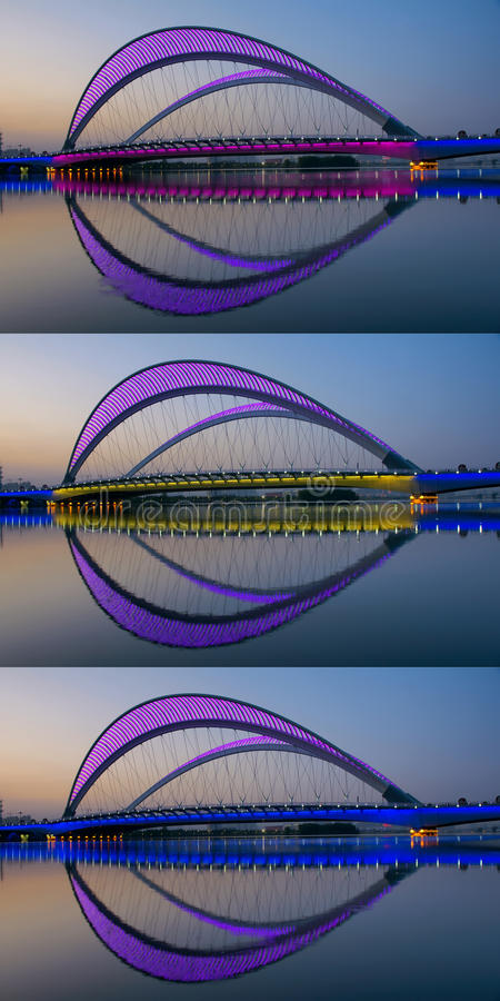 Bridge nocturne. The nocturne of Nanzhonghuan Bridge in Taiyuan, Shanxi, China stock image