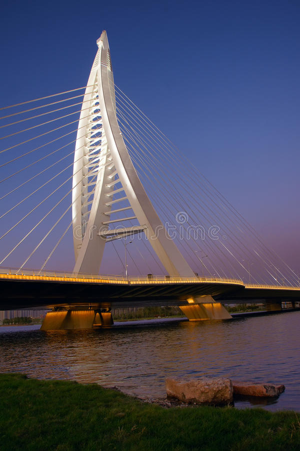 Bridge nocturne. The nocturne of Xiangyun Bridge in Taiyuan, Shanxi, China stock image