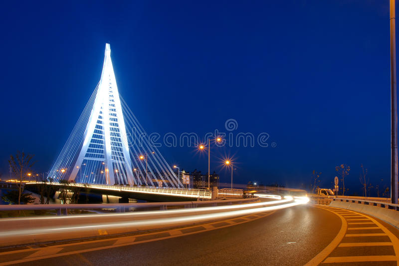 Bridge nocturne. The nocturne of Xiangyun Bridge in Taiyuan, Shanxi, China royalty free stock image