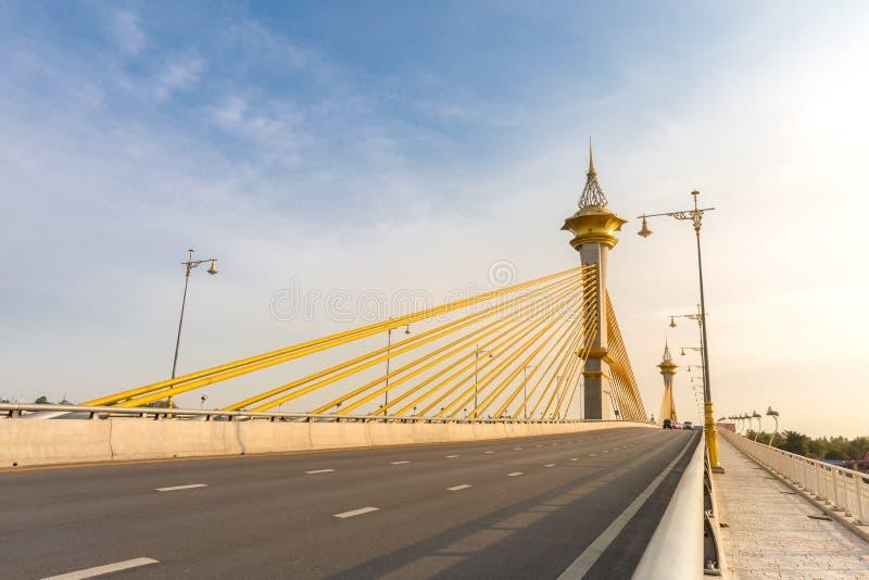 Bridge in Nonthaburi Thailand. Maha Chesadabodindranusorn Bridge in Nonthaburi Thailand royalty free stock image