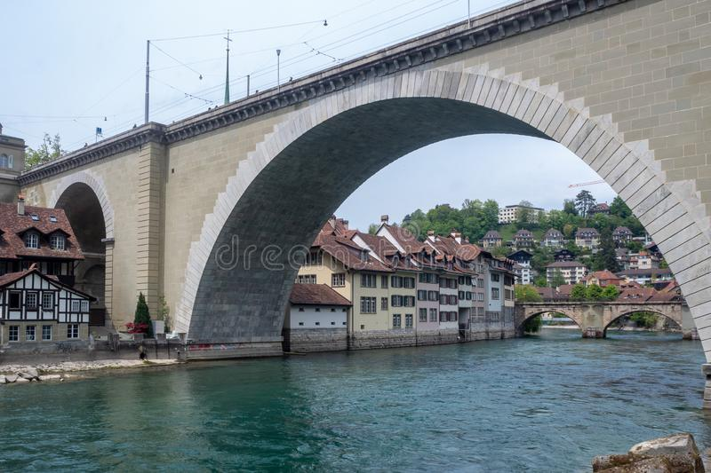 Bridge of Nydegg Nydeggbrücke on the Aare river in Berne, Switzerland. For background with copy space stock photo