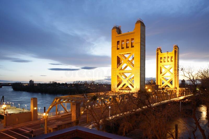 bridge old sacramento tower στοκ εικόνα