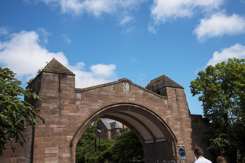 Bridge in the original Roman Walls that encircle the City of Chester in England stock photos