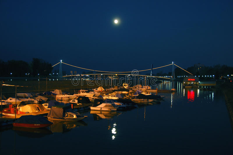 Bridge of Osijek. Croatia with full moon stock photography