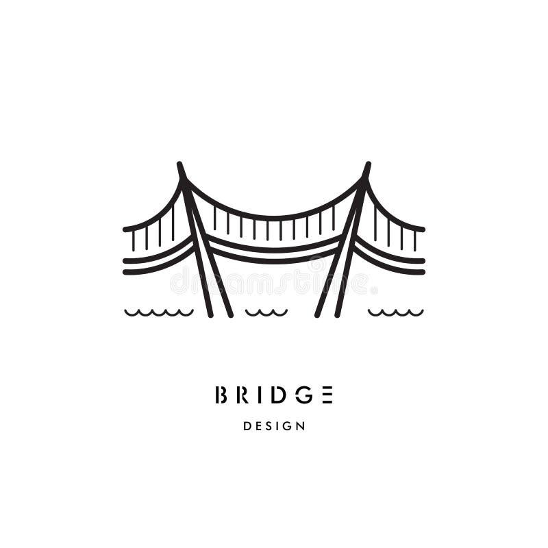 bridge outline logo vector stock vector  illustration of linear