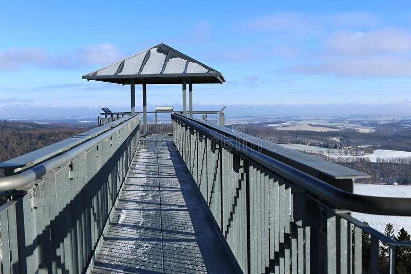 Bridge of the outlook tower. Metal bridge on the top of the outlook tower stock photo