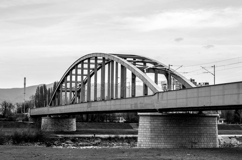 Bridge ove the river Sava. Monochrome photography of a bridge over river Sava in Zagreb. Croatia phogotraphy stock photography