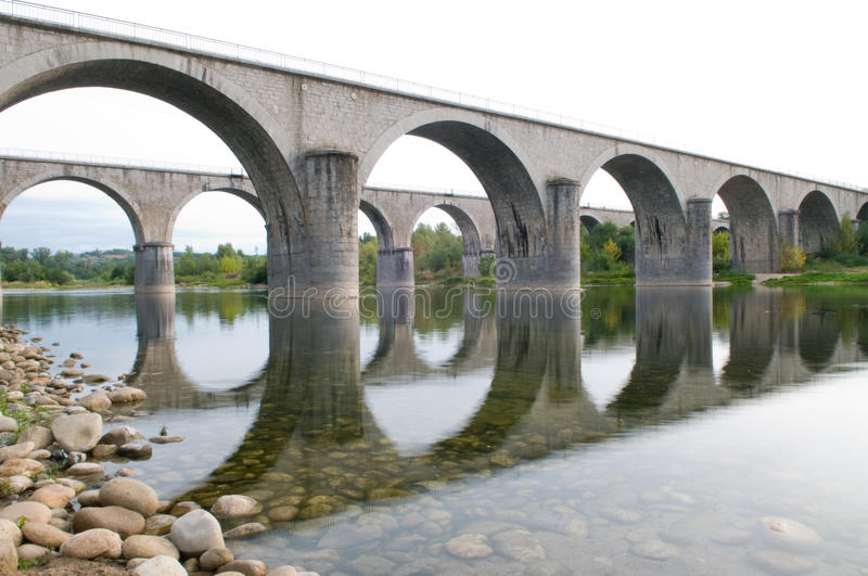 Bridge over the Ardeche stock photos