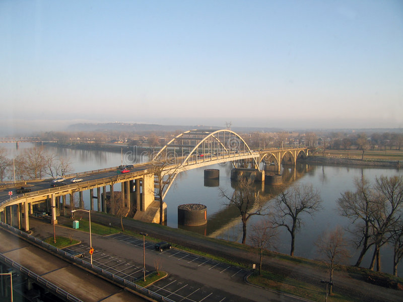 Bridge over ARK River. Late Winter Morning in Little Rock, AR on Arkansas River stock photo