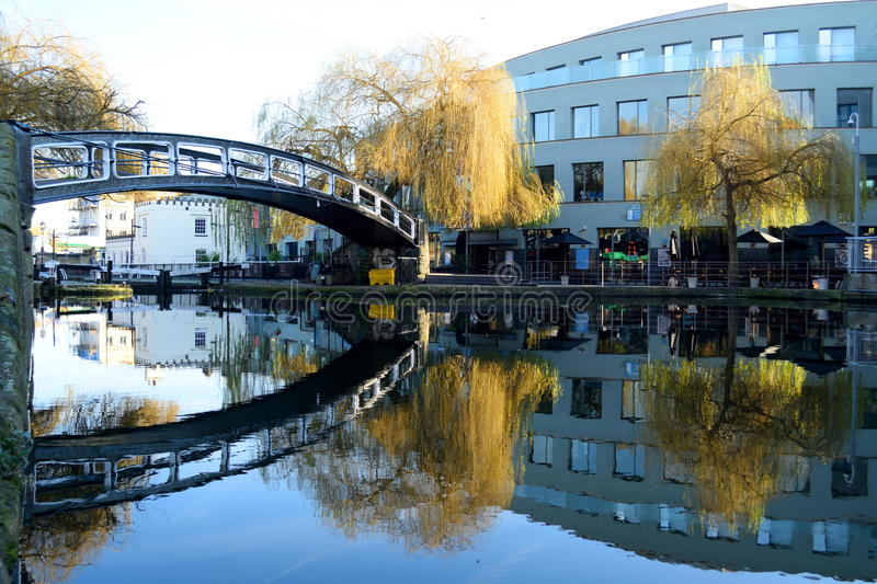 Bridge over canal stock image