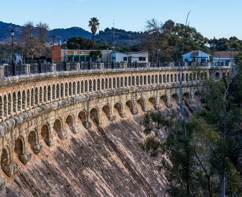 Bridge over the Conde de Guadalhorce near Ardales, Andalusia, Spain. Viaduct over the Embalse del Conde de Guadalhorce reservoir near Ardales, Andalusia, Spain stock image