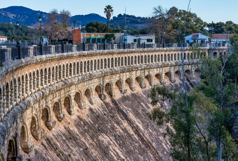 Bridge over the Conde de Guadalhorce near Ardales, Andalusia, Spain. Viaduct over the Embalse del Conde de Guadalhorce reservoir near Ardales, Andalusia, Spain stock photos