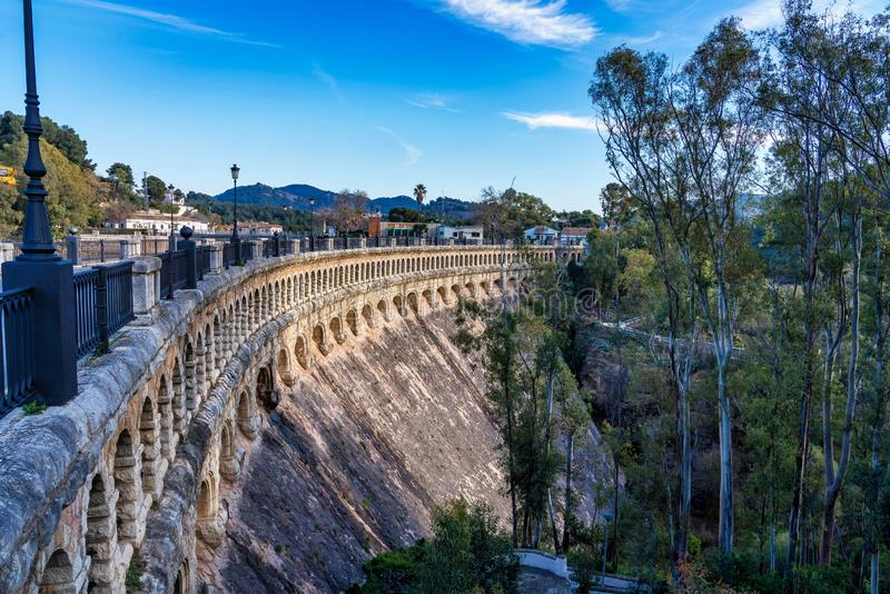 Bridge over the Conde de Guadalhorce near Ardales, Andalusia, Spain. Viaduct over the Embalse del Conde de Guadalhorce reservoir near Ardales, Andalusia, Spain stock photography