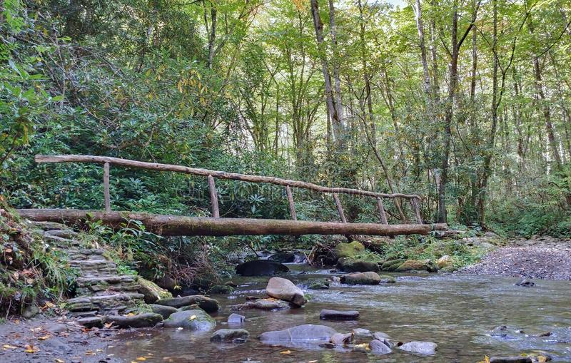 Bridge over Cove Creek. Log bridge spans Cove Creek in Smoky Mountains National Park stock photo