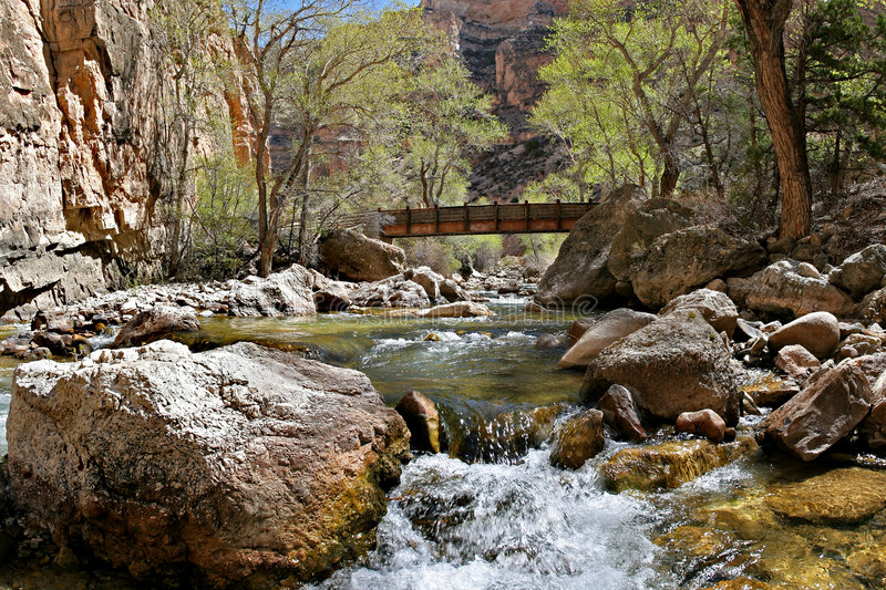 Download Bridge over the creek stock image. Image of down, cascade - 160193