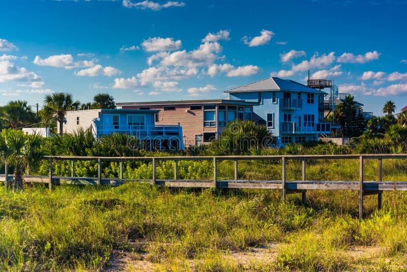 Bridge over dune grasses and beach houses in Vilano Beach, Florida. stock images
