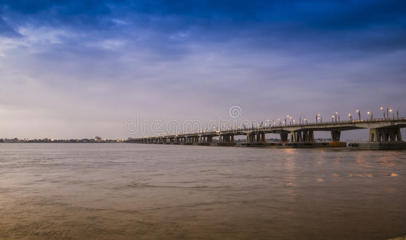 Bridge over Guayas river in Guayaquil, Ecuador royalty free stock photos