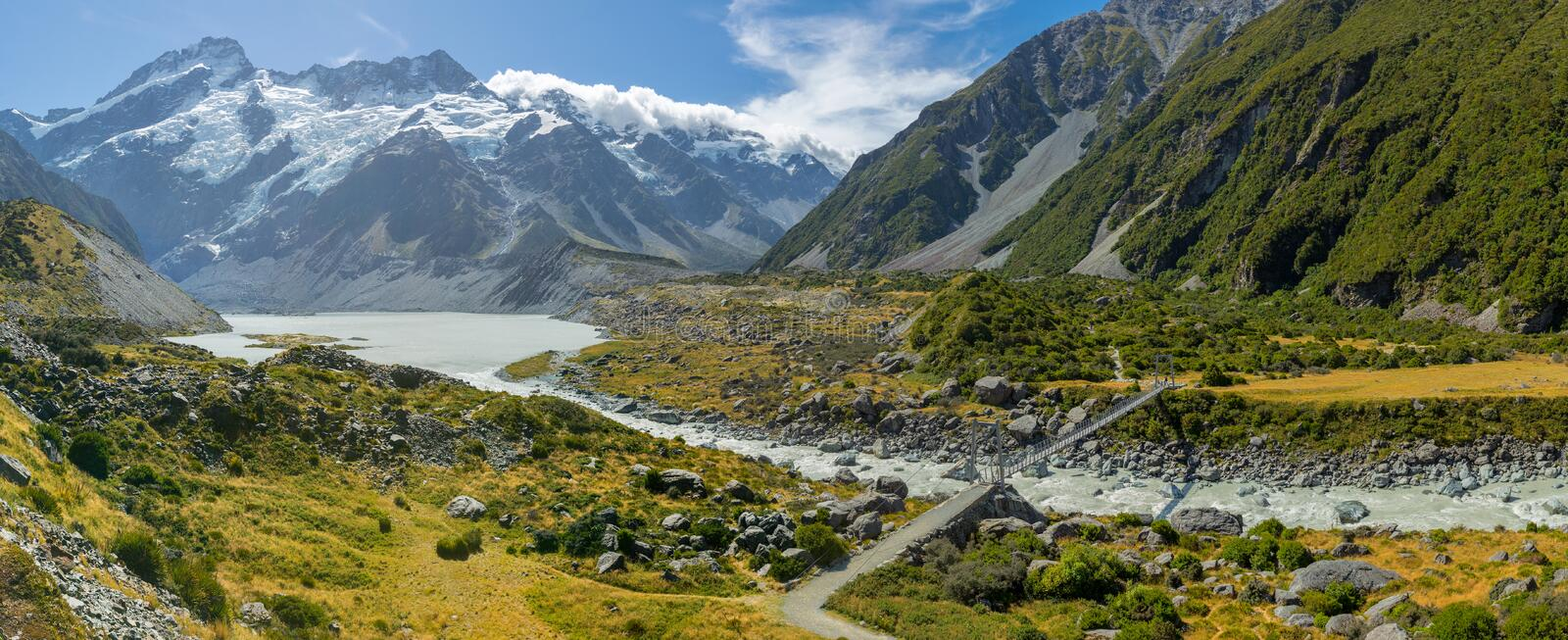 Bridge over River in Mt Cook National Park stock photography