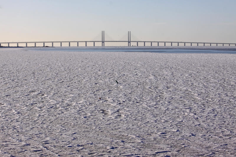 Bridge Over Icy Water Stock Photography