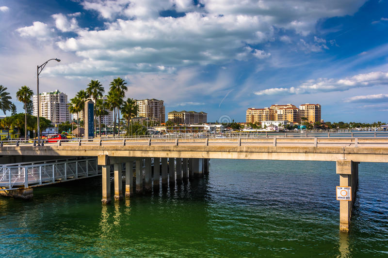 Bridge over the Intracoastal Waterway in Clearwater Beach. Florida royalty free stock photography
