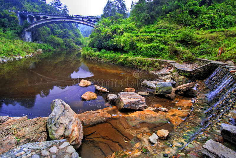 Download Bridge over a Lake stock image. Image of green, reflection - 4512871