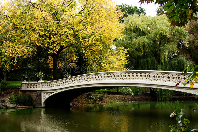 Bridge over lake in fall scenery. Beautiful fall autumn scenery landscape of a white bridge over a peaceful body of water lake river in Central Park, Manhattan royalty free stock photo