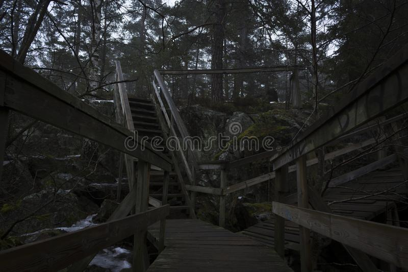 Bridge over a lake and stairway up a mountain, to a forest. royalty free stock photos