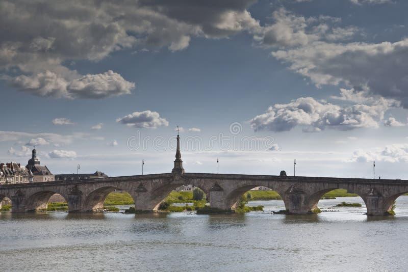 Bridge over the Loire. The river Loire and Pont Jacques Gabriel in Blois stock photo