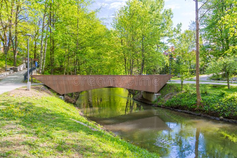 Bridge over Lyna river in city center of Olsztyn in Poland. Bridge over Lyna river in city center of Olsztyn in Poland royalty free stock photo