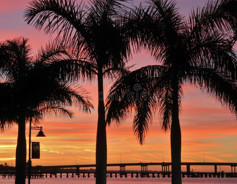 Bridge over the Manatee River at sunset. Bridge over the Manatee River in Bradenton, Florida stock photos