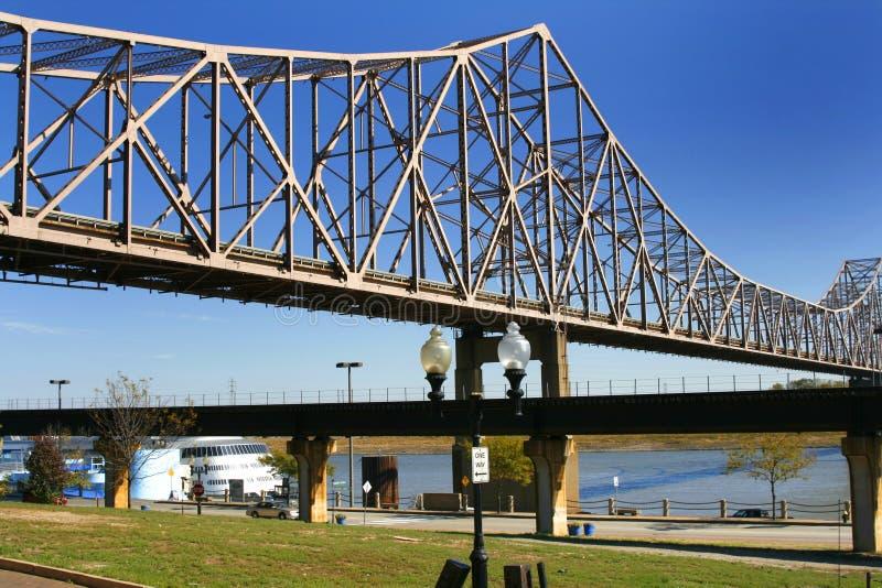 Bridge over Mississippi River royalty free stock images
