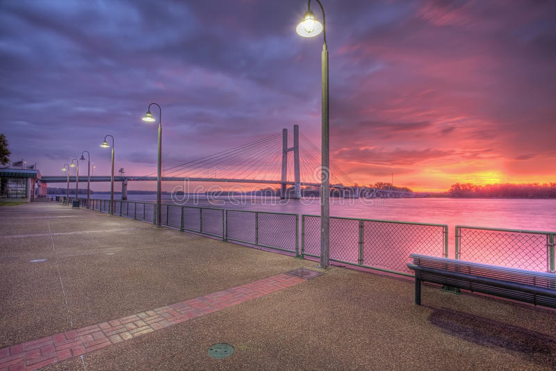 Bridge over the Mississippi at sunrise, HDR royalty free stock photo