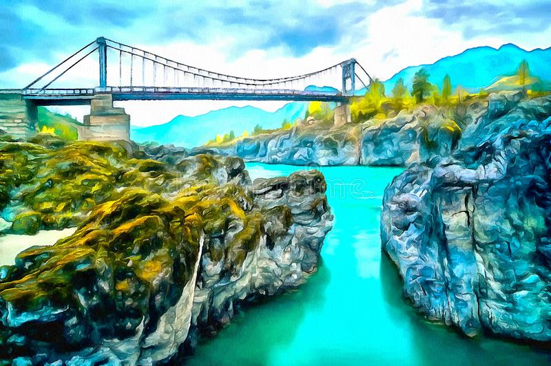 Bridge over the Mountain River at the rocky Canyon stock illustration